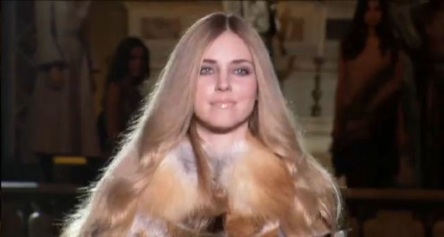 Chiara Ferragni walks for Alberta Ferretti
