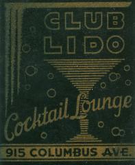 Club Lido (jericl cat) Tags: sanfrancisco columbus black illustration club vintage paper typography gold design lounge martini bubbles ephemera cocktail font type lido matchbook vodvil