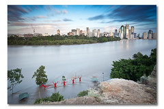 Feel The Quiet River Rage (Brisbane Flood Peak @ Kangaroo Point - January 13th 2011) (Matthew Stewart | Photographer) Tags: city water sunrise australia brisbane floods 2010 cliffface kangaroopoint