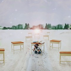 better take cover. (karrah.kobus) Tags: winter light snow book alone child classroom desk crayons hiding protection takecover