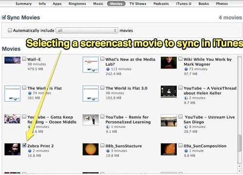Selecting a screencast movie to sync in iTunes
