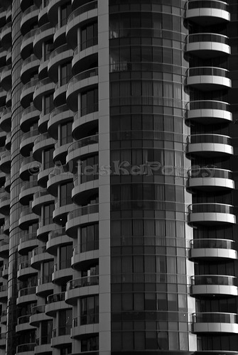 a building in black and white
