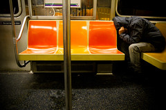 IMG_6124.jpg (Hello Turkey Toe) Tags: man bench subway nap loneliness publictransportation ride sleep pole jacket seats despair hood gothamist fatigue