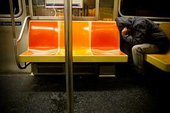 IMG_6124.jpg (Hello Turkey Toe) Tags: man bench subway nap loneliness publictransportation ride sleep pole jacket seats despair hood gothamist fatigue