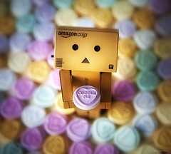 Danbo Love (Canonshot Mole) Tags: macro reflection love hearts toy japanese mirror robot focus candy bokeh sweets valentines lonely feelings lovehearts yotsubato yotsuba danbo revoltech