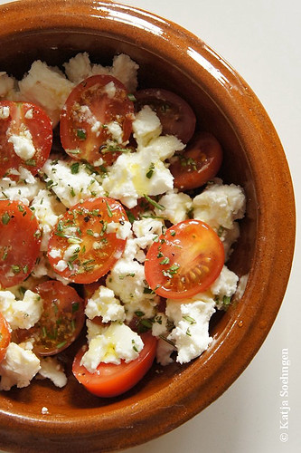 Oven baked Tomatoes, Feta, Rosemary and Olive Oil