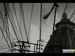 Wired to religion (A-Niche) Tags: urban india white black electric architecture rural chaos indian small religion wires temples electricity poles smear rajasthan udaipur