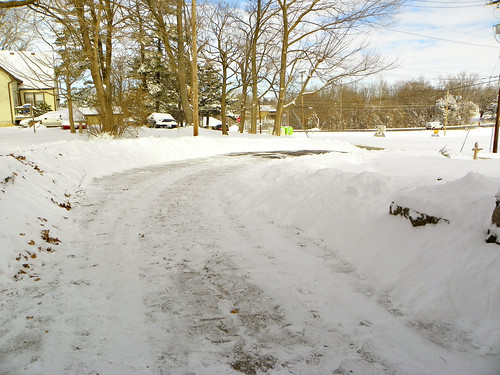 Our snowy driveway, freshly shoveled
