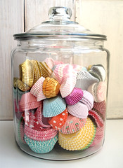 Jar of Cupcake Cases (such pretty things) Tags: floral cupcakes colorful pretty case storage cups cupcake dots organization wrappers cases organized