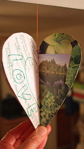 Repurposed paper heart - green (love)