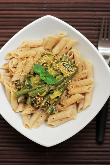 Green Beans, Courgettes and Mint Wholegrain Penne