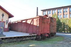 Historic Railcars and Buildings (photoman82) Tags: old autumn fall mill abandoned franklin newengland newhampshire sunny nh bm restored boxcars railcars freighthouse abandonedrailroad franklinfalls bostonandmaine vintagehistoric