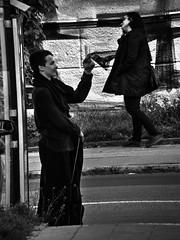 Bus Stop Scene (Kojotisko) Tags: street city people bw streets streetphotography brno cc creativecommons czechrepublic streetphoto persons hdr fujifilmfinepix photomatix fujifilmfinepixsl1000 fujifilmfinepixsl1000kojotisko