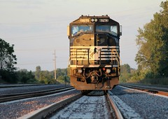 A Norfolk Southern SD60i sits solo with a baretable in Lorenzo IL on the BNSF Chillicothe Subdivision. 9/17/16 (AdamElias14) Tags: ns6763 norfolksouthern emd sd60i lorenzoil bnsfchillicothesubdivision goldenlight baretables