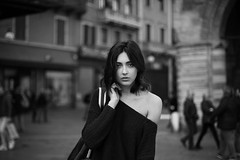 Passing by (la_cla25) Tags: model modella portrait ritratto light luce urban city italy italia bokeh eyes occhi face beauty beautiful blackandwhite biancoenero