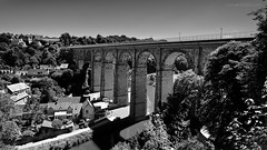 VIADUC DE DINAN (Michal Gds) Tags: dinan france french viaduc rance bretagne brittany monochrome ctesdarmor bridge pont pierresetpavs pierres arche stones paysage landscape hauteur colonnes noiretblanc blackwhite historique monument architecture nikond810 nikonflickraward sky versleciel perspective camaeu ark stoneandpaved height columns pilier pillar depthoffield profondeurdechamp trees arbres dwelling maisons courantdeau watercurrent