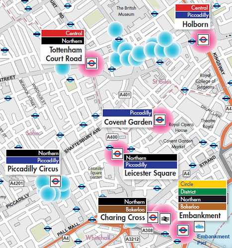 Hotspots in the central London - pink dots show public transport hotspots