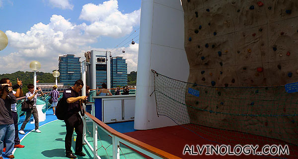 Rock-climbling wall on board the ship
