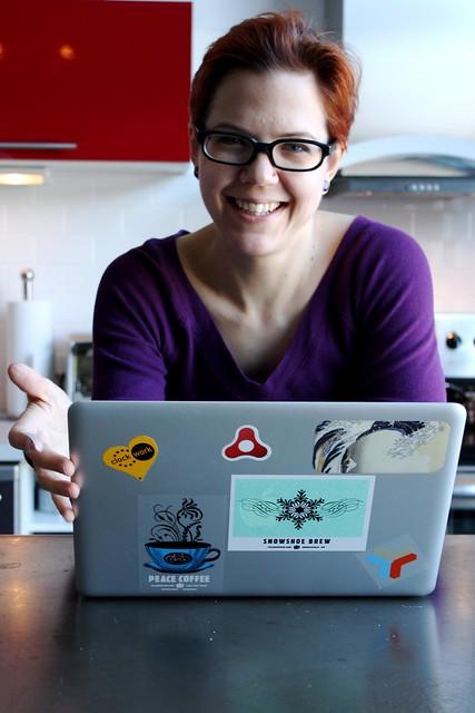 Kjrsten has applied even more stickers to her Macbook