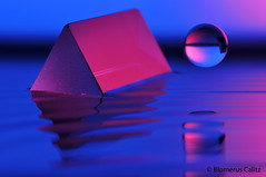 Prism Sphere, Geometric waters (Red blue geometric shapes on water) (Blomerus Calitz) Tags: blue light red color colour macro reflection water up closeup contrast canon photography nikon focus close crystal experiment prism 300mm refraction vr redblue 70mm refracted geometricshapes 500d d90 nikond90 diypfav