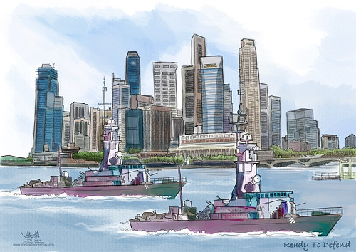 digital watercolour painting for Singapore Navy