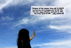 Day 7/365 ~ Imagine. (Amanda Mabel) Tags: morning blue portrait sky sun white black girl clouds photoshop self john hair paper asian one us back peace you dove live text dream may vivid teen join only teenager imagine serene lennon inspire say tranquil