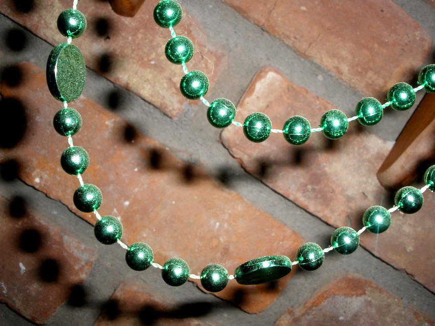 Day 329: 11-28-10 Green Beads & Brick