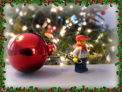 Day 280 of 365 (TheMagikMaster) Tags: christmas tree lights lego holly ornament decorating benny day280 december5 365toyproject minifiugre