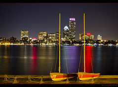 Anchored..... (bijoyKetan) Tags: reflection colors boston night boats mit charles prudentialtower