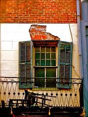 Wrecked Window (Daria Angeli) Tags: usa abandoned colors america grid chair louisiana neworleans bricks shutters otw flickraward flickrestrellas spiritofphotography wreckedwindow