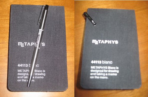 Metaphys Blanc 44113 memo pad and Zebra Mini T3 ballpoint pen