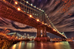 New York City (mudpig) Tags: nyc newyorkcity longexposure bridge cloud newyork reflection skyline brooklyn night geotagged cityscape dumbo brooklynbridge manhattanbridge eastriver gothamist hdr mudpig stevekelley