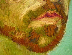 van Gogh, Self-Portrait Dedicated to Paul Gauguin, detail of mouth