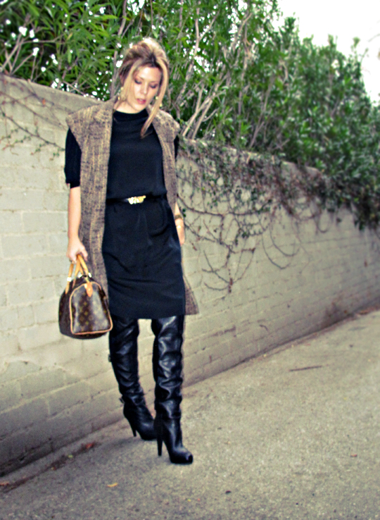 black dress black boots sleeveless coat+louis vuitton bag+black on black+vintage dress