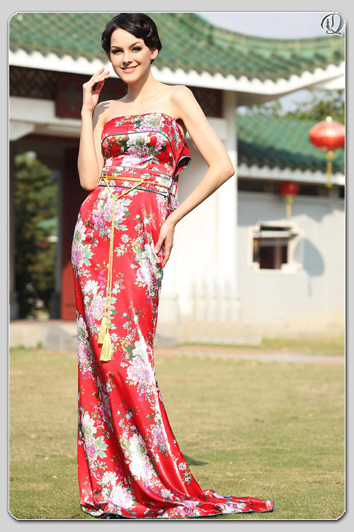 Chinoiseries Red Print Maxi Dress Sweep Train