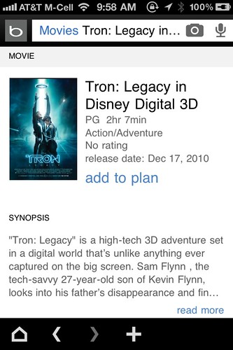 Bing iPhone App 2.0 - Movies