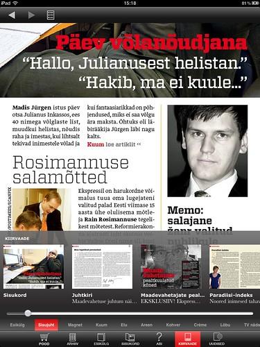 Eesti Ekspress iPadil: kiirvaade