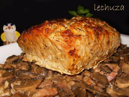 Lomo de cerdo asado-champiñones