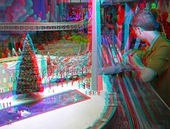 Trains at NorthPark (Anaglyph 3D) (patrick.swinnea) Tags: toys miniature stereoscopic stereophoto 3d modeltrain anaglyph trainshow northparkmall