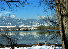 Rocky Mountain Winter Reflection in Spring - Boulder, USA (Batikart) Tags: park travel blue schnee roof vacation fab sky usa cloud sun white lake snow tree ice window nature silh