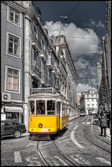 Lisbon Tram (szeke) Tags: street city urban portugal yellow buildings lisboa lisbon centro tram amarillo carro vehicle 2008 electrico bonde tranvia photomatix canon30d detailsenhancer platinumheartaward flickrestrellas spiritofphotography platinumpeaceaward flickraward5