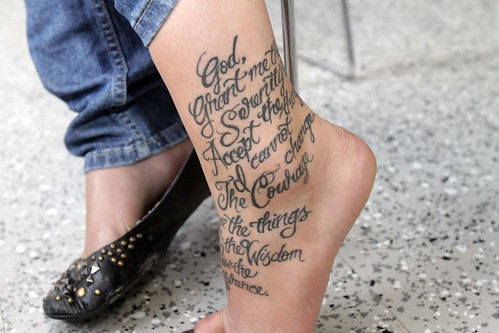 Literary Tattoos. Theresa Michalowski's tattoo of the Serenity Prayer at