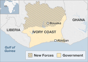 A map of the Ivory Coast that illustrates the military forces loyal to both the incumbent Gbagbo and Ouattara who is supported by the UN and the West. ECOWAS is threatening to enter the country. by Pan-African News Wire File Photos