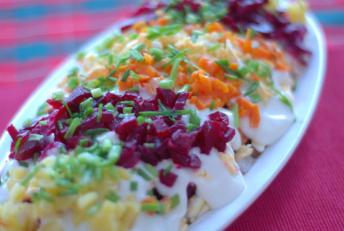 kasukas/shuba: root vegetable salad with salted herring
