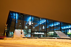 Malm Central Station Arrival Hall by night (LimeWave Photo) Tags: city travel winter white house snow building glass station night hall skne europe nightshot sweden centre central railway center sverige arrival malm malmo scania snowcovered wintery wintry arrivalhall snowclad limewave