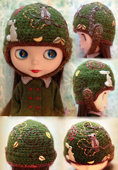 No. 3 - Forest Circuit ( Skull Maiden ) Tags: wood brown tree rabbit bunny green hat leaves yellow forest paper cord skull hare wind handmade embroidery buttons maroon ooak crochet helmet olive felt owl blythe circuit maiden floss threads calavera esy