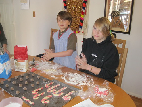 December 2010: Katherine makes enormous candy cane cookies.