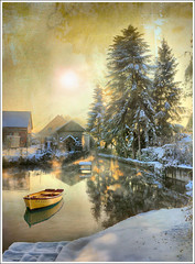 Yellow (Jean-Michel Priaux) Tags: winter lake snow france cold tree texture ice nature water yellow fog photoshop jaune river landscape boat pond village hiver alsace paysage brume anotherworld tang littleboat ried priaux bindernheim vanagram