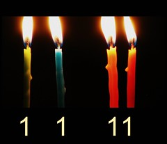 New Year's Day is every man's Birthday. (circulating) Tags: birthday winter light shadow evening candles quote flame 1111 newyearsday happynewyear resolutions numerology charleslamb january12011