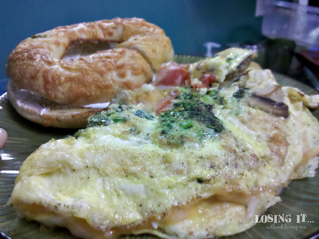 Day 2: Veggie omelette with bagel